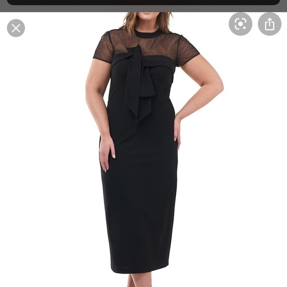 NWT JS Collections Bow illusion Mesh Cocktail Dres